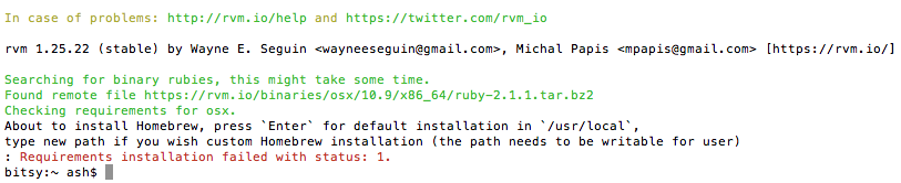 How to Fix 'Requirements installation failed' When Installing RVM Ruby on OSX Mavericks